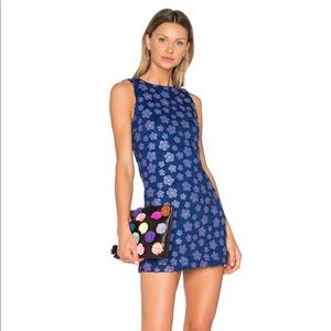 Alice + Olivia   Floral Mini Dress   Blue